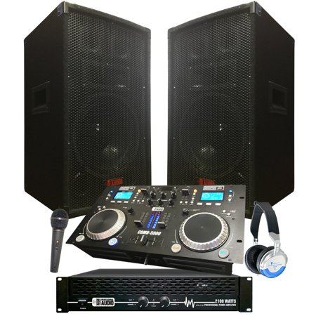 Starter Dj System - 2100 WATTS - Connect your Laptop, iPod, USB, MP3's or Cd' - DJ (Equipment Needed To Dj With A Laptop)