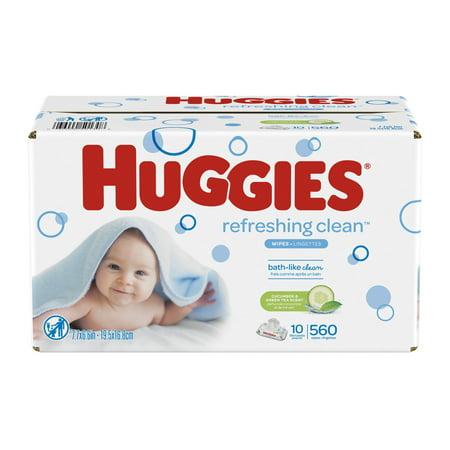HUGGIES Refreshing Clean Scented Baby Wipes, Hypoallergenic, 10 Flip-top Packs, 56 Ct Each (560 Total Wipes)