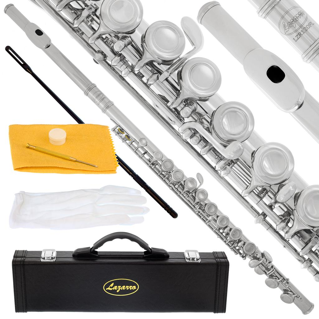 Lazarro 120-NK Professional Silver Nickel Closed Hole C Flute with Case, Care Kit-Great for Band, Orchestra,Schools