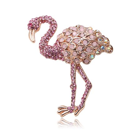 Elegant Women Girls Pink Crystal Flamingo Brooch Pins Jewelry Perfect Gift