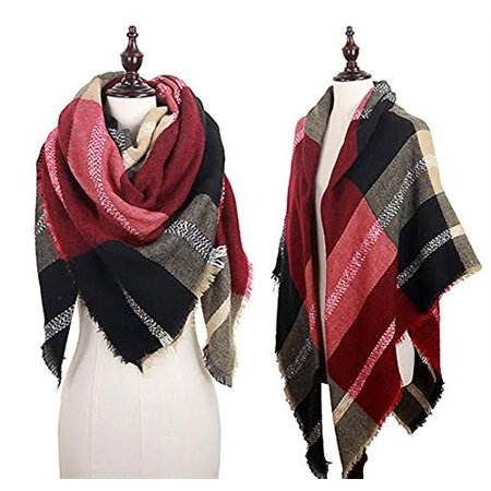 Stylesilove Plaid Lovers Womens Trendy Blanket Shawl Scarf  Large Plaid Red