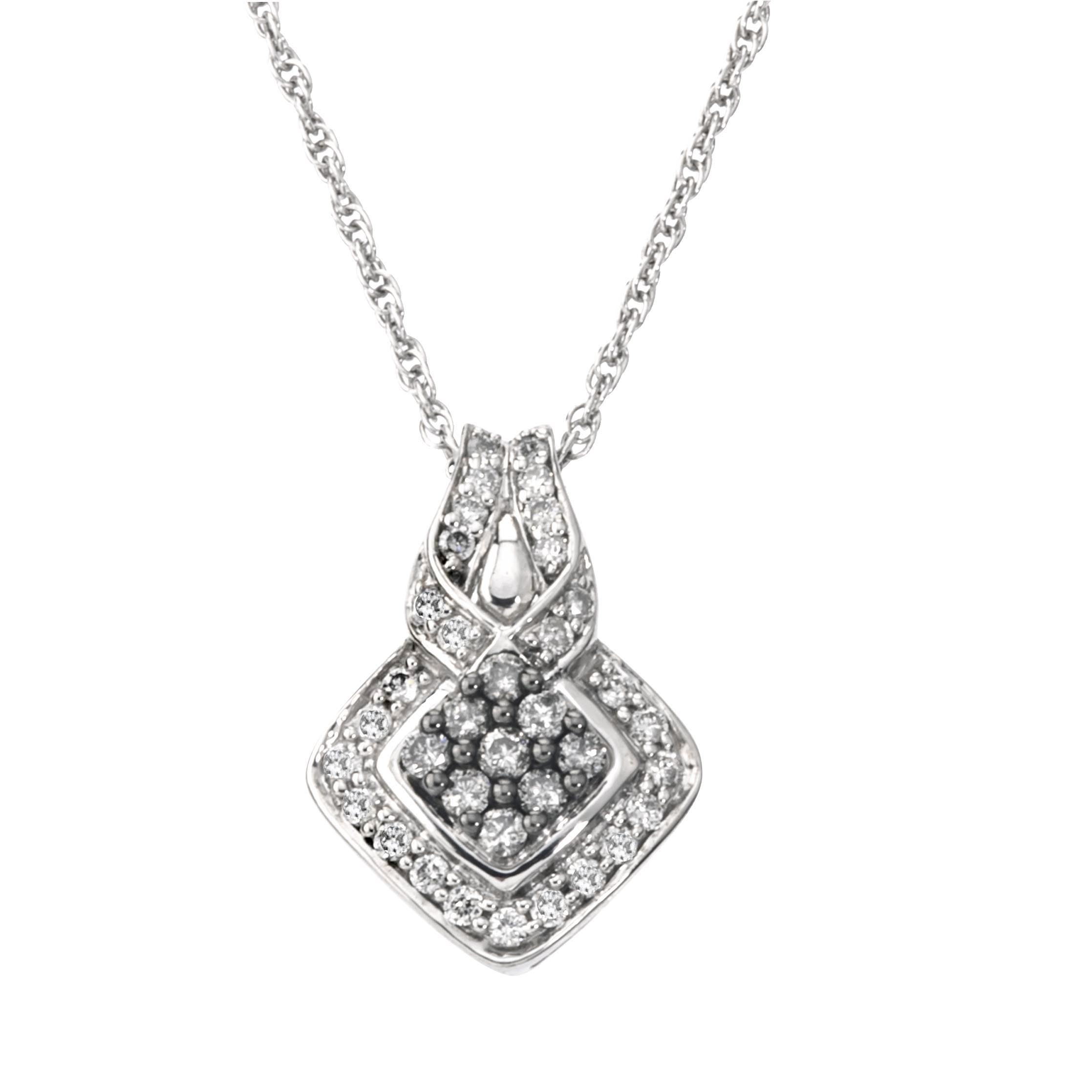 Diamond Tie Knot Necklace in Sterling Silver (0.50 cts, H-I I2,Grey Diamonds) by Diamond Direct LLC