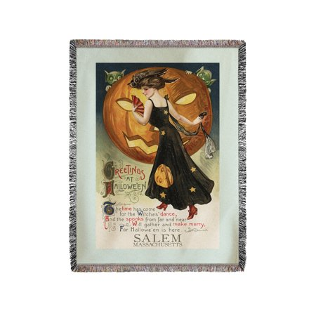 Salem, Massachusetts - Halloween Witch Dance - Vintage Postcard (60x80 Woven Chenille Yarn Blanket) - Vintage Halloween Dance Party