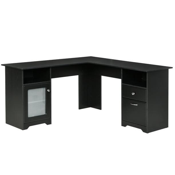 HOMCOM L-Shaped Corner Computer Desk PC Workstation Student Writing Table with Storage Shelf & Drawers, Black
