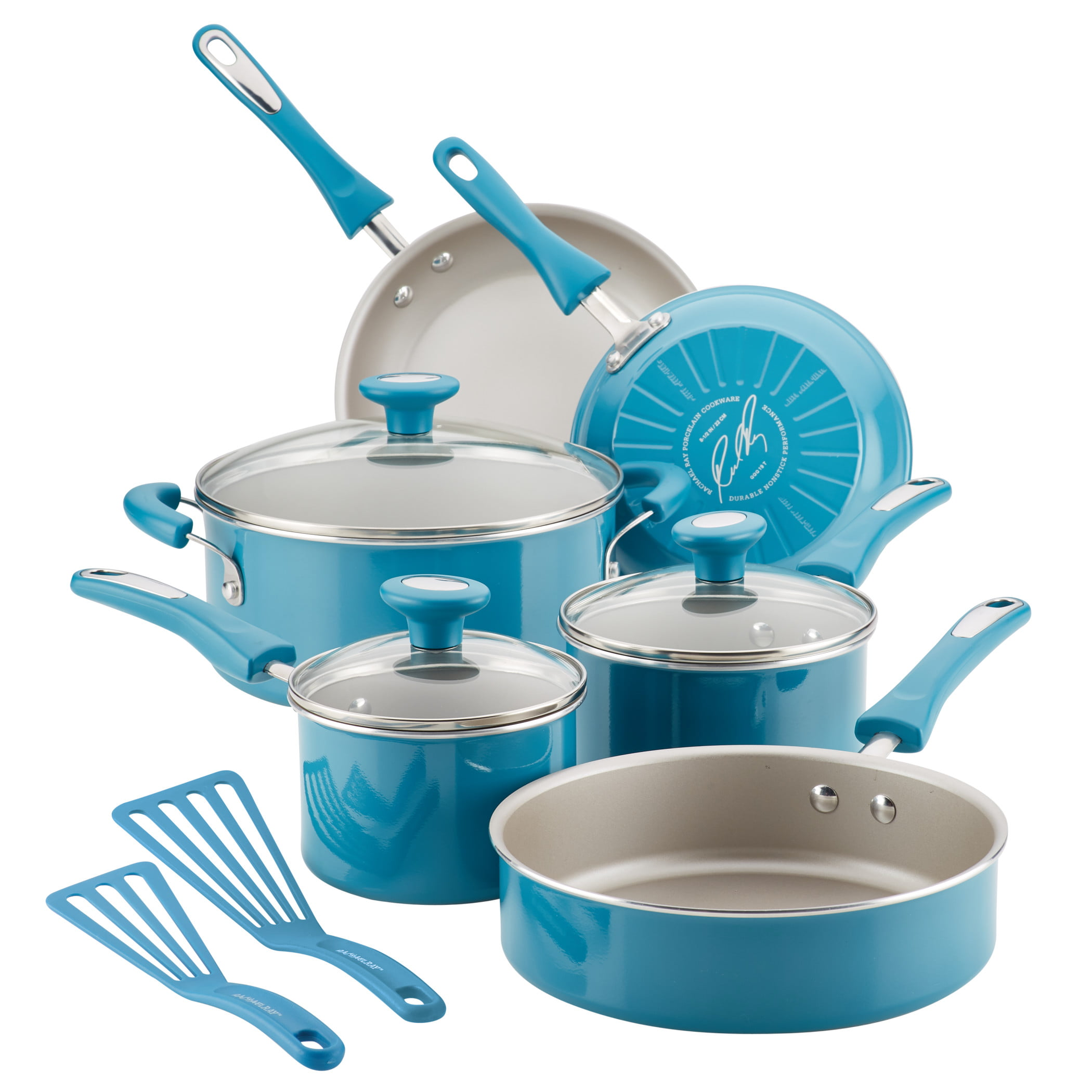 Rachael Ray Get Cooking! Aluminum Non-Stick Turquoise Cookware Set, 11  Piece - Walmart.com