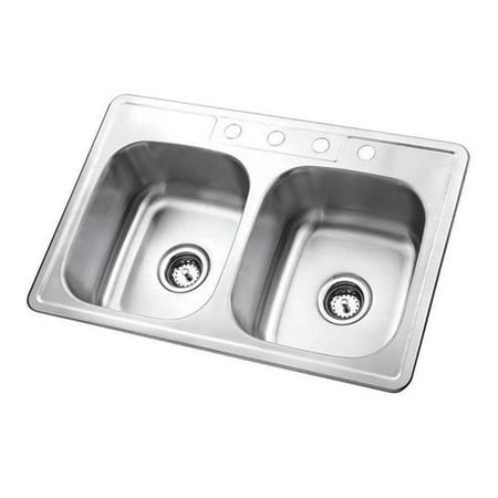 (Kingston Brass Studio 22'' L x 33'' W Gourmetier Self-Rimming Double Bowl Kitchen Sink)