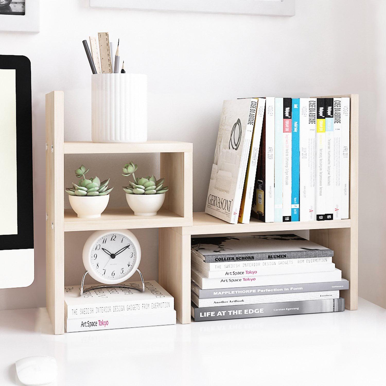DL furniture Desktop Organizer Office Storage Rack Adjustable Wood Display Shelf | Books Toys Plants Home... by DL-Furniture