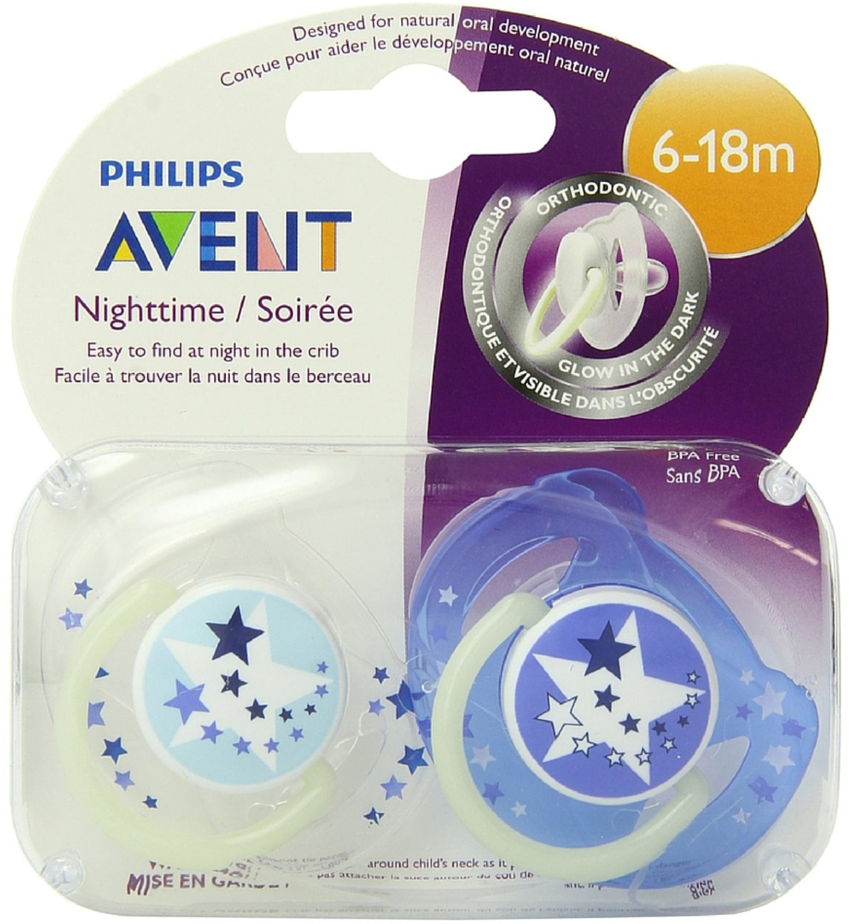 6 Pack - Philips Avent BPA Free Night Time Pacifier, 6-18 Months 2 ea