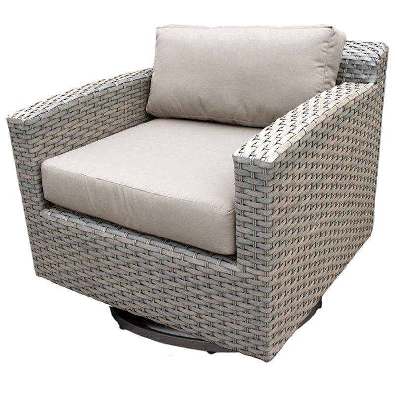 TKC Florence Patio Wicker Swivel Chair in Dark Brown