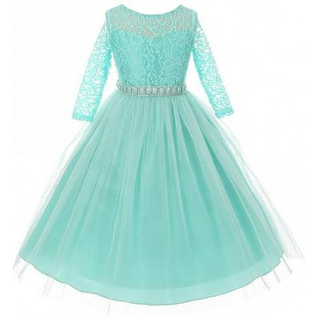 Little Girls Dress Lace Top Rhinestones Tulle Holiday Christmas Party Flower Girl Dress Tiffany Size 2 (M37BK2)](Tiffanys Girls)