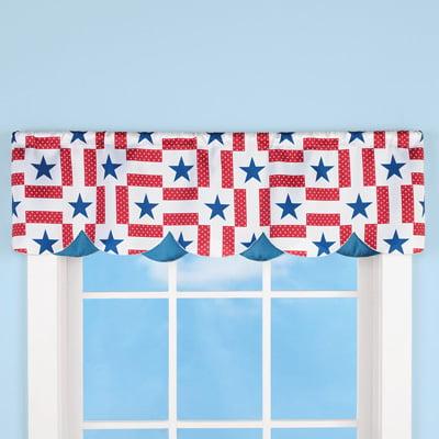 winston inc Red White Blue Americana Patriotic Star Scalloped Curtain Valances 2 PC -