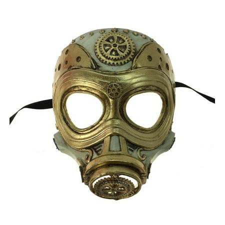 KBW Adult Unisex Steampunk Gold Gas Mask, Vintage Victorian Style Retro Punk Rustic Gothic Motorcycle Pilot Aviator Eyewear Headgear Costume Accessories Novelty Costume Accessories - Gothic Gas Mask