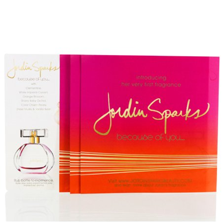 BECAUSE OF YOU  JORDIN SPARKS  SCRATCH OFF SCENTED BROCHURE Miscellaneous - Jordin Sparks Halloween