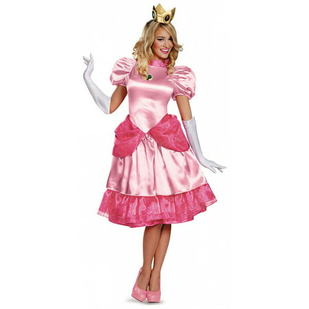 Princess Peach Deluxe Adult Costume - X-Large (Mario And Princess Peach Dress Up Games)