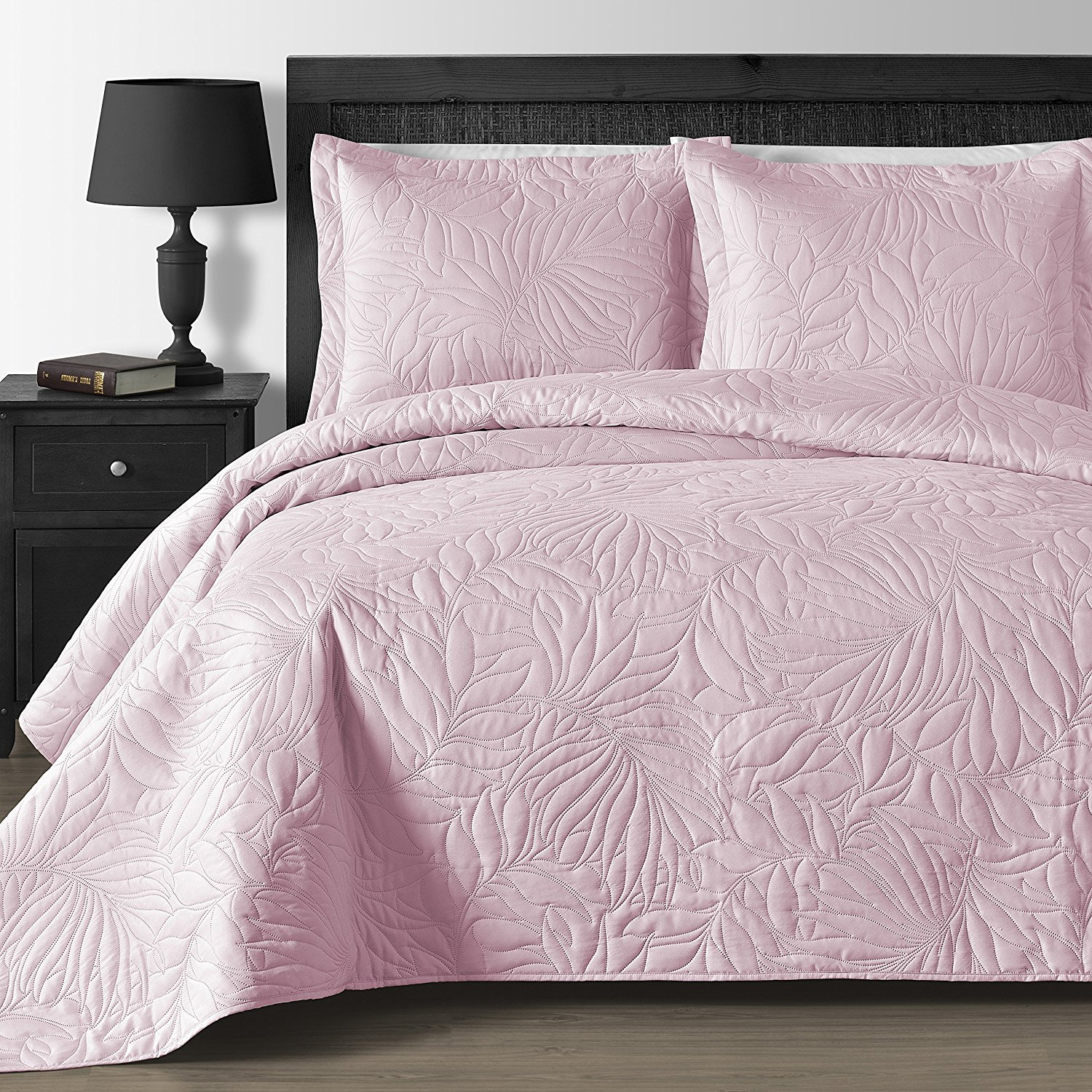 Oversized and Lightweight Leafage 3-piece Bedspread Coverlet Set