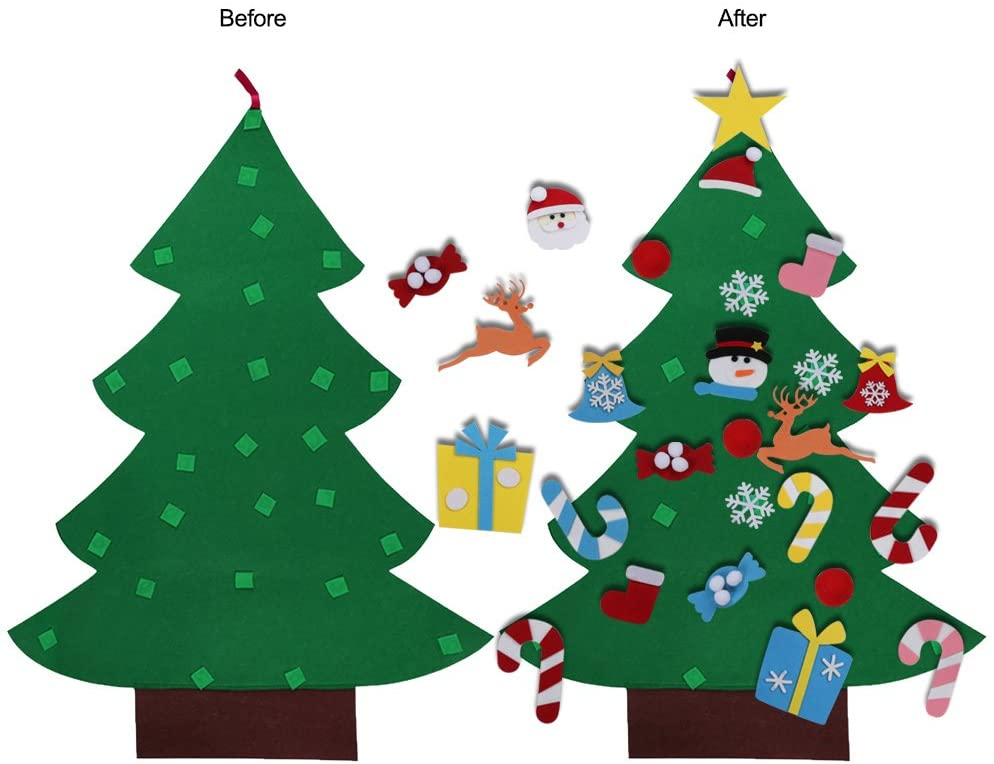 Diy Felt Christmas Tree Set 26pcs Detachable Ornaments Kids Wall Hanging Gifts For Christmas Decorations Walmart Canada