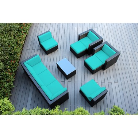 Ohana 10 Piece Outdoor Wicker Patio Furniture Sectional Conversation Set - Black Wicker ()