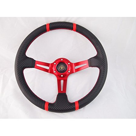 New World Motoring RED Deep Dish Steering Wheel with Adapter Ez-go POLARIS Ranger Club car Harley Deep Dish Bullitt Wheel