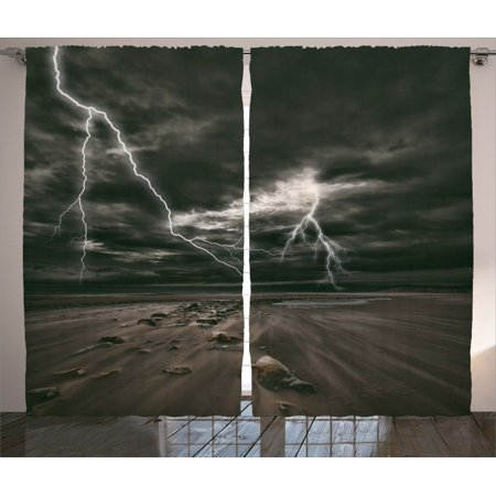 Lake House Decor Curtains 2 Panels Set, Lightning Flashes Across The Sandy Beach From A Powerful Storm Radiant Beams Print, Living Room Bedroom Accessories, By Ambesonne