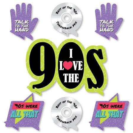 90's Throwback - 1990s Party Centerpiece and Buffet Table Decor - Tabletop Standup - Set of - 1990s Theme