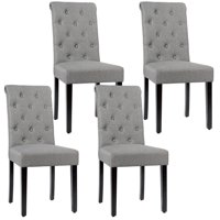 Gymax 4PCS Upholstered Dining Chair High Back Armless Chair w/ Wooden Legs Grey