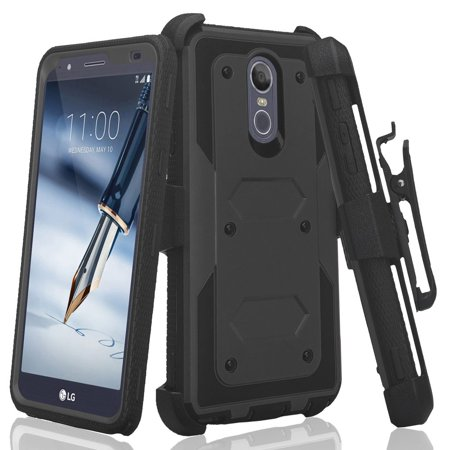 LG Stylo 4/LG Stylo 4 Plus Case,Rugged Series with Built-in [Screen Protector] Heavy Duty Full-Body Rugged Holster Cover Case [Belt Swivel Clip][Kickstand] Black Black Pvc Holster Case