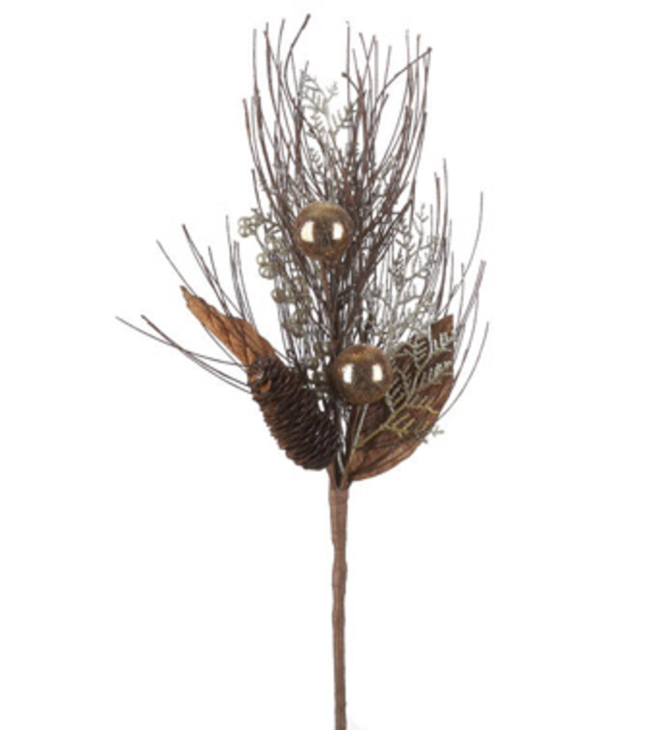 """19"""" Brown and Gold Colored Berry Leaf with Pine Cone Artificial Christmas Spray"""