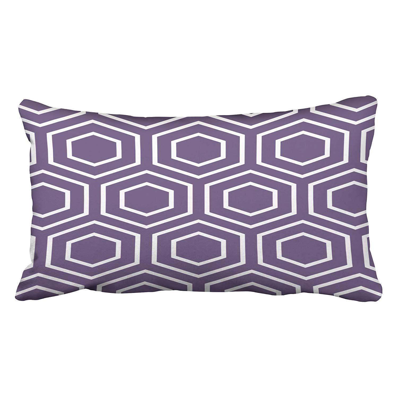 BPBOP Hex Pattern Geometric In Purple Pillowcase Cushion Cover 20x30 inch