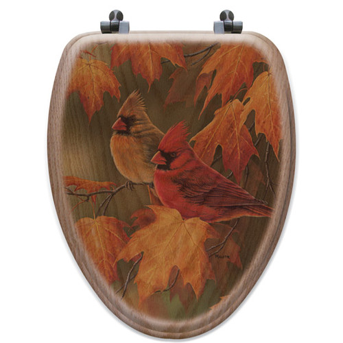 WGI-GALLERY Maple Leaves and Cardinals Oak Elongated Toilet Seat