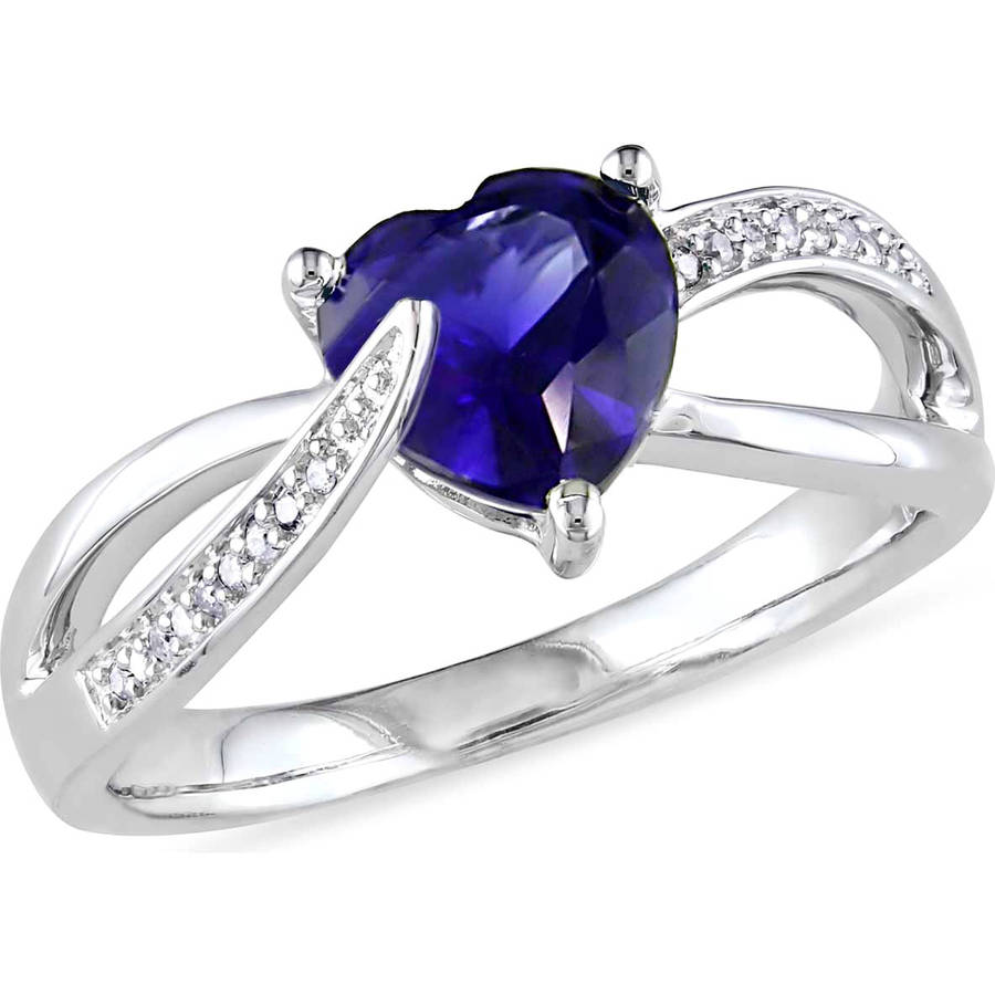 Tangelo 1-7/8 Carat T.G.W. Created Blue Sapphire and Diamond-Accent Sterling Silver Cross-Over Heart Ring