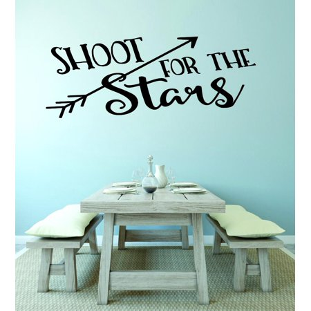 Vinyl Wall Decal Sticker   Shoot For The Stars Love Quote Home Decor Living Room Bedroom Picture Art 14X28