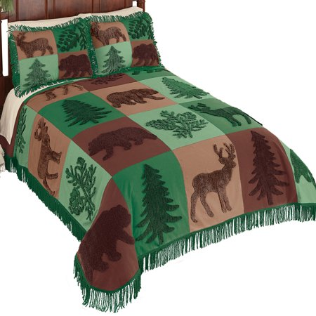 Forest Lodge Patchwork Chenille Bedspread with Fringe- Pattern Features Green and Brown Scene of Evergreen Trees with Bears and Deer, King, Green -