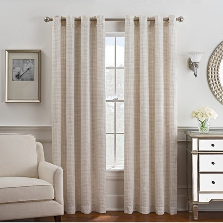 Style Domain Plaid and Check Blackout Grommet Single Curtain Panel ()