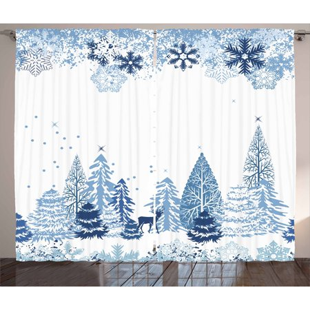 Winter Curtains 2 Panels Set, Winter Scene with Deer Frozen Trees and Snow Christmas Season Pine Trees Bushes, Window Drapes for Living Room Bedroom, 108W X 84L Inches, Blue White, by Ambesonne