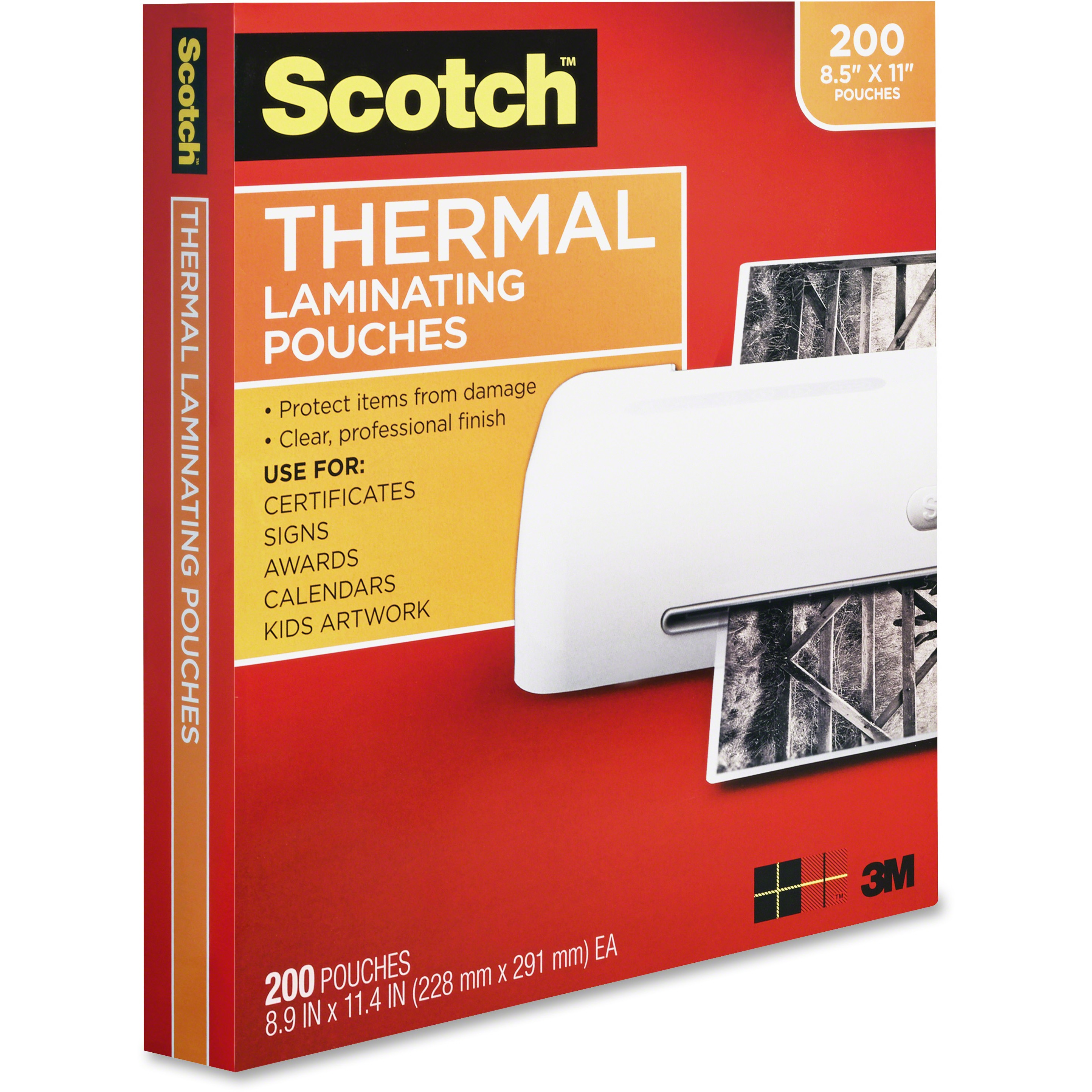 Scotch Thermal Laminating Pouches 200 pack, Letter Size, 9.5in 11.5in., 3 mil thickness, 200 Pouches per Pack