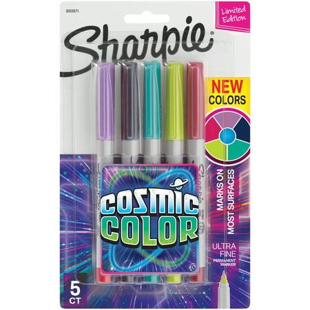 Sharpie Cosmic Colors Marker Sets, 5-Markers, Ultra-Fine