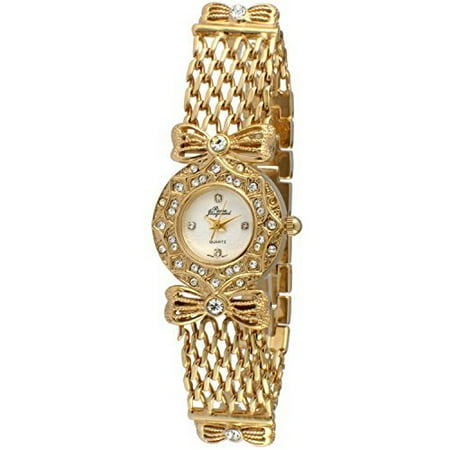 14K Gold Plated Ladies Bow & Crystal Chain Bracelet Dress Watch