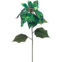 "30"" Green Glitter Jeweled Poinsettia Flower Artificial Craft Pick"