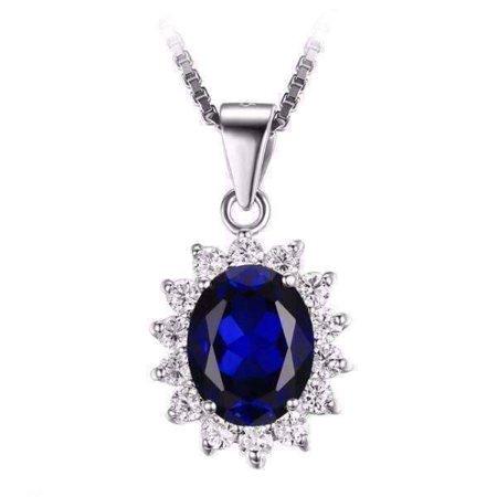 Swiss Blue Oval Cut 2.5CT Simulated Sapphire IOBI Precious Gems Halo Pendant Necklace Swiss Blue Pendant - Oval Cut Swiss