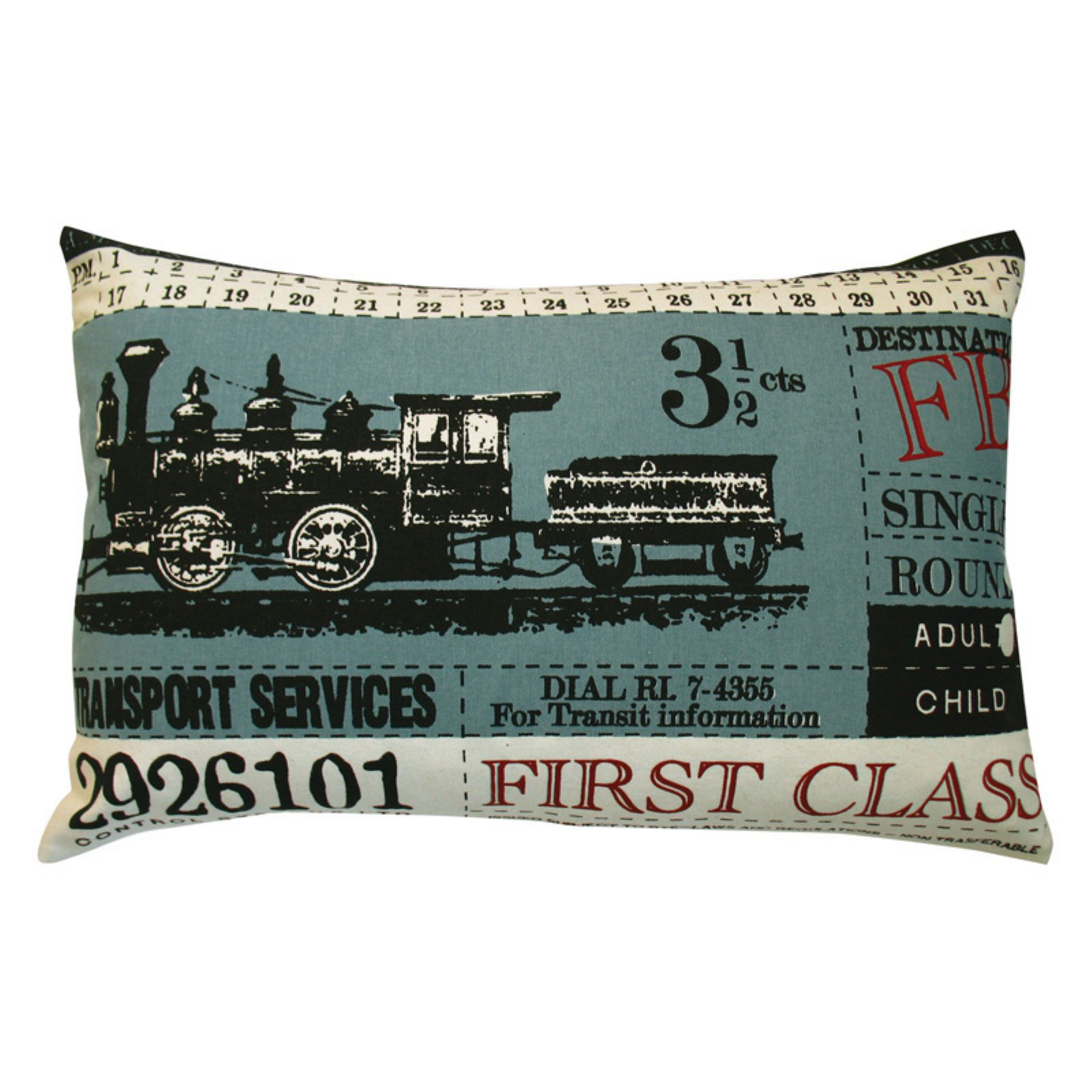 Koko Company Ticket Blue Decorative Pillow
