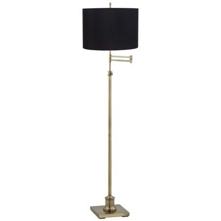 360 Lighting Swing Arm Floor Lamp Antique Brass Black Fabric Drum Shade for Living Room Reading Bedroom Office