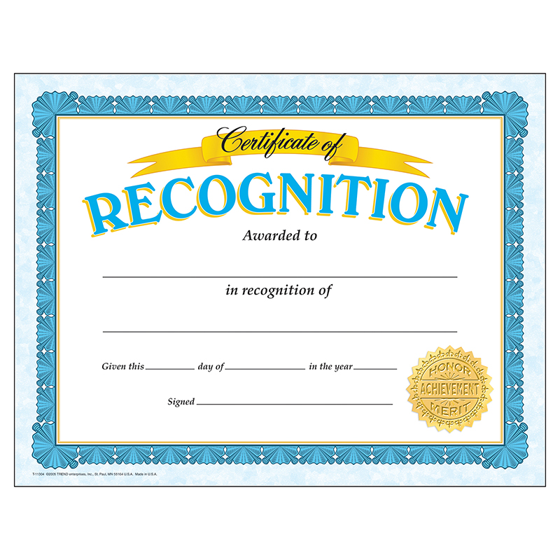 CERTIFICATE OF RECOGNITION CLASSIC 30/PK