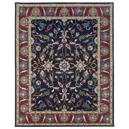 Due Process Stable Trading Company Agra Hand-Tufted Blue/Burgundy Area Rug