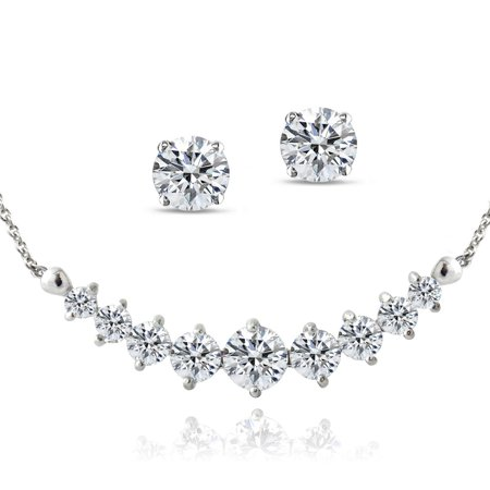 - Sterling Silver 4ct Created White Sapphire Frontal Journey Necklace & Stud Earrings Set