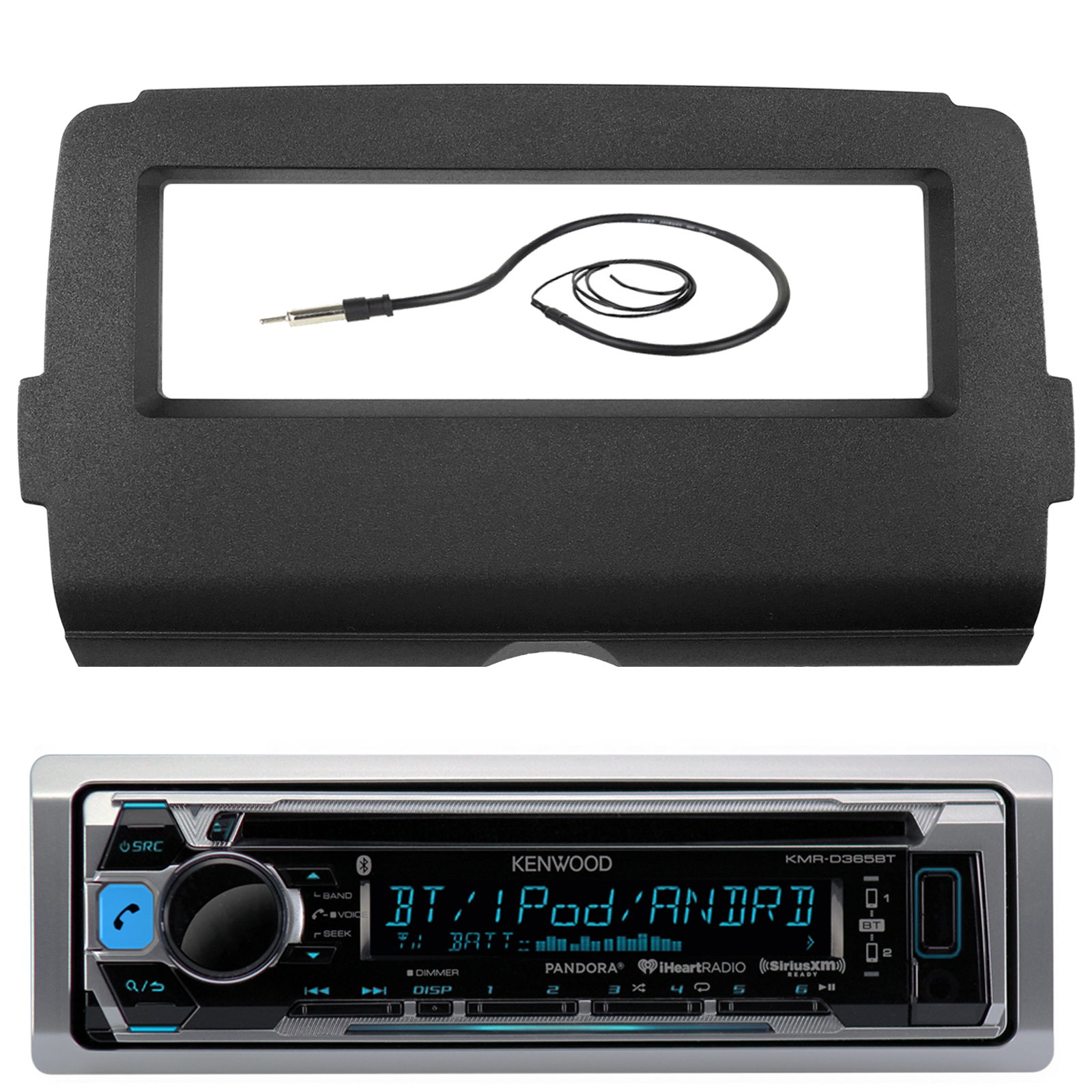 """Audio Bundle For 2014 and Up Harley - Kenwood KMRD372BT Marine CD MP3 Bluetooth Stereo Receiver Combo With Dash Installation Kit for Single DIN Radios for Motorcycles, Enrock 22"""" Wired AM/FM Antenna"""