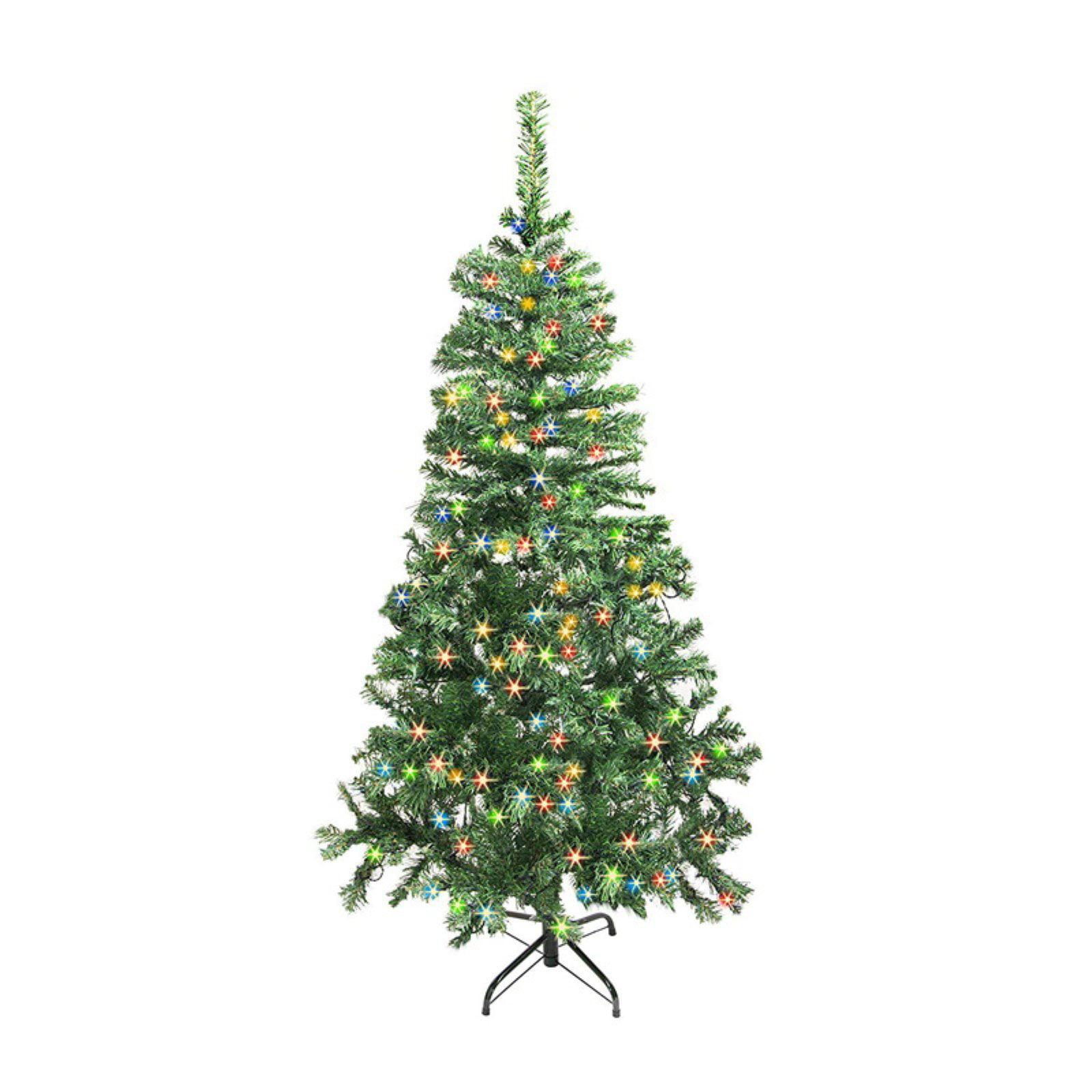7 5 Foot Artificial Christmas Tree Multi Colored Lights: ALEKO CTLG84H250MC Luscious Artificial Christmas Tree