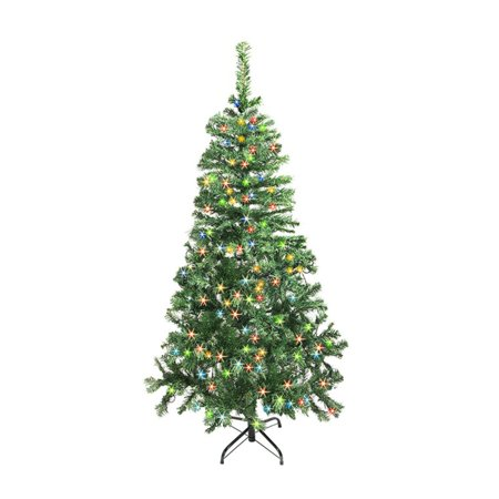 ALEKO CTLG84H250MC Luscious Artificial Christmas Tree - 7.5 Foot - with Multicolored LED Lights - Light Green Color