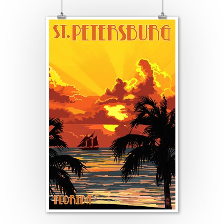 St. Petersburg, Florida - Sunset & Ship - Lantern Press Poster (9x12 Art Print, Wall Decor Travel Poster) ()