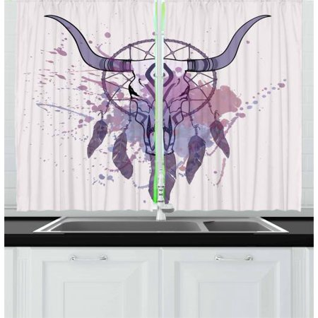 Feather Curtains 2 Panels Set, Bull Skull Illustration with Dreamcatcher and Watercolor Splashes Abstract, Window Drapes for Living Room Bedroom, 55W X 39L Inches, Lavender Black Grey, by - Lavender Grey