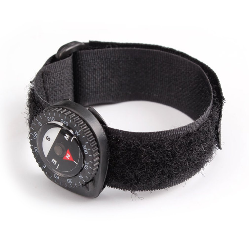 Compass Outdoor Clip-On Watchband Hiking Gear Compasses Nylon Band Bracelet
